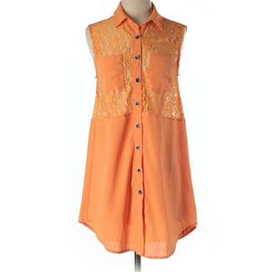 MINKPINK Orange Sleeveless Button Up Dress